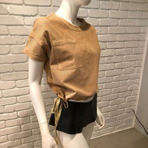 Tops - CAMEL TAN LAZER CUT SUEDE LEATHER CINCHED CROP TOP